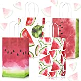 Whaline 16Pcs Summer Watermelon Party Bags with Handle 4 Designs Watermelon Theme Treat Goodie Bags Cute Cartoon Fruit Candy Favor Gift Bags for Kids Birthday Baby Shower Beach Pool Party Supplies