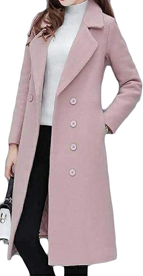 Yhsuk Womens Cotton-Lined Wool-Blend Overcoat Solid Winter Slim Fit Quilted Pea Coat Long Jacket