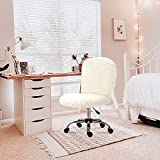 Professional Gaming Chair, Office Desk Chair, Faux Fur Desk Chair Thicken Soft Swivel Rolling Vanity Height-Adjustable Office Chair (Color : Dove Grey) (Color : Miky White)