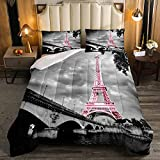 JOLEYCOR Retro Eiffel Tower Comforter Set Queen Size Paris Cityscape Gray French Pink Eiffel Tower Bedding Quilt Set for Kids Adults 1 Comforter+2 Pillowcases