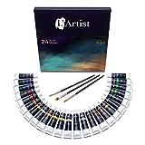 L'Artist Acrylfarben   Set mit 24 Tuben + 3 Gratis Pinsel   12ml Malfarbe pro Tube   Premium Künstlerfarben perfekt für Papier, Leinwände, Holz UVM.   Bastler, Modellbau und Künstlerbedarf