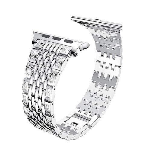 Hspcam Correa para Apple Watch 4 5 6 SE Band 44mm 40mm lujo acero inoxidable Metal pulsera para iwatch 3 2 1 banda 42mm 38mm (para 38 y 40mm, plata)