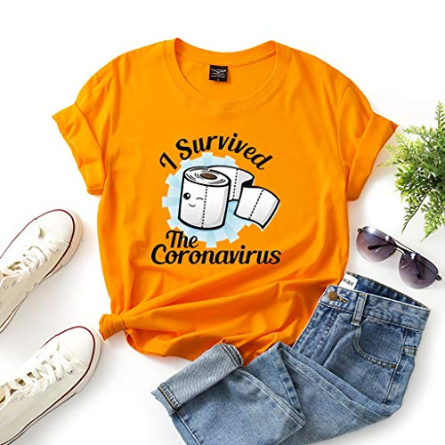 I Investigated Coronavirus, COVID 19 Short Sleeve Fun Men and Women T-Shirts (Color : Orange, Size : XXL)