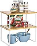 HAITRAL Juego de 2 estantes para armario de cocina, organizador apilable y ampliable para accesorios de cocina, especias, tazas