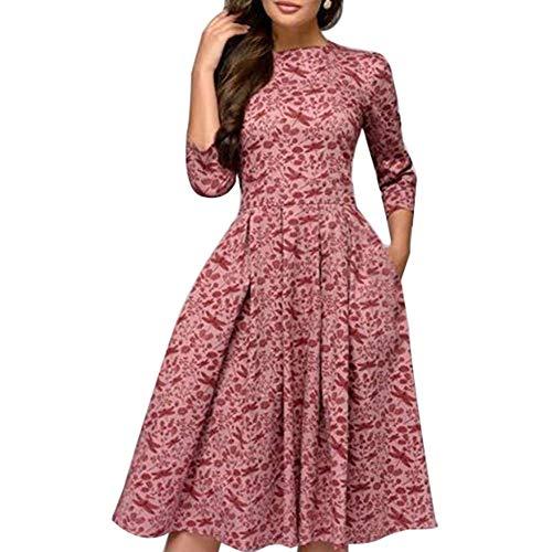 Huaheng Vrouwen Vintage A-lijn Jurk 3/4 Mouwen Bloemenprint Ronde hals Zonnejurk voor de herfst M roze