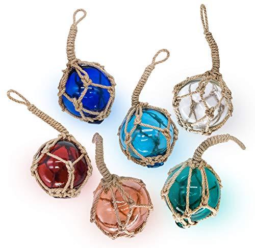 SAILINGSTORY Glass Fishing Float Beach Ornaments for Christmas Tree 3', Beach Decor Glass Fishing Buoy Nautical Christmas Ornaments Set of 6 Color Pack