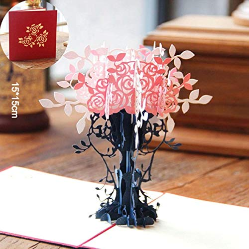 3DFloral Greeting Card Pop-up Card White Envelope Postcard Birthday Gift Event Party Christmas Invitation2
