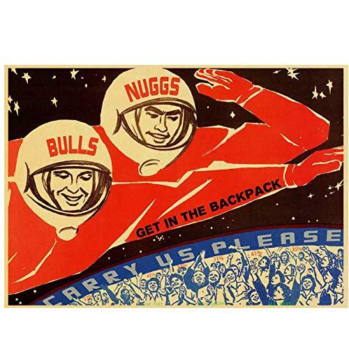 ZNNHERO Cartel de Propaganda Ruso Vintage La Carrera Espacial Retro URSS CCCP Carteles e Impresiones Arte de la Pared Decoración de la habitación del hogar-60x90cmx1 Sin Marco