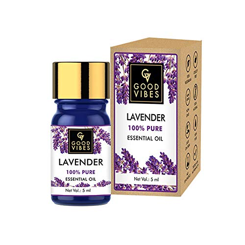 Good Vibes 100% Pure Lavender Essential Oil - 5 ml - Detoxifies and Rejuvenates Skin, Stimulates Hair Growth and Promotes Sound Sleep - Cruelty Free
