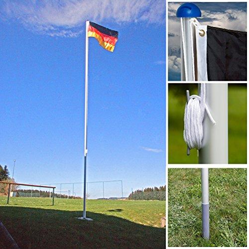 FLAGMASTER® Aluminium Fahnenmast 6,50 m, inkl. Deutschland Fahne + Bodenhülse + Zugseil, 3 Jahre Garantie - 7