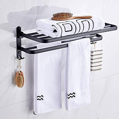 WHLONG Toalla Plegable Estante Doble Plataforma multifunción toallero Mate Negro con los Ganchos de Toalla de Almacenamiento de Titular for la Cocina Baño (Color : 49cm)