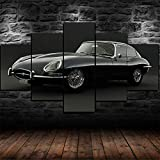 IIIUHU 5 Piezas Impresión En Lienzo No Tejido Coche Clásico Jaguar E-Type Cuadros Decoracion Salon Decoración Hogareña Sticker Cuadros Salon Dormitorio Escena De Pared Listo para Colgar