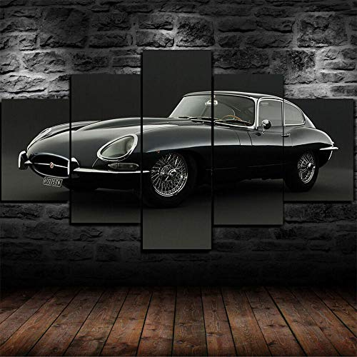 XHYUE Canvas Wall Art Paintings For Home Decor Jaguar E-Type Classic Car Poster 5 Pieces Modern Framed Artwork The Pictures For Living Room Decoration HD Prints On Canvas Gift-39.5x21.7 inch(WxH)
