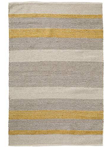 Benuta Wollteppich Flachgewebe Phrena Gelb 200x290 cm - Naturfaserteppich aus Wolle
