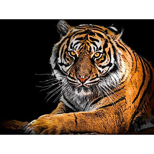 Lazodaer Kit de pintura de diamante 5D para adultos, taladro redondo completo DIY diamante pintura por números, kit de diamante para decoración de pared del hogar Tiger-meditación 39,8 x 30 cm