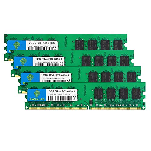 Rasalas DDR2 800 PC2-6400 8GB DDR2 Kit (4x2GB) DDR2-800 Udimm 2GB DDR2 Ram 2RX8 1.8V CL6 Non-ECC Unbuffered Desktop RAM Memory Modules