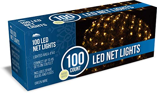 Joiedomi 100 LED Christmas Net Lights for Indoor & Outdoor Decorations, Christmas Events, Christmas Eve Night Decor, Christmas Tree, Bushes (Warm White)
