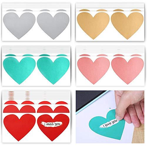 Keleily Tarjeta Rasca 100 Piezas Rasca Etiqueta Adhesivo Pegatina de Rascar, Corazón, plata, oro, rojo, rosa, verde (7 x 8 cm)