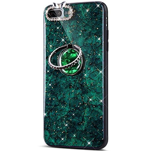 QPOLLY Kompatibel mit iPhone 7 Plus/iPhone 8 Plus Hülle Silikon Glänzend Glitzer Bling Diamant Schutzhülle mit 360 Grad Ring Ständer Kristall klar Silikon TPU Handyhülle Case,Grün