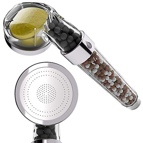 ducha de mano Ahorro de agua Respetuoso con el medio ambiente Limón Vitamina C Aroma Ion Egativo Granos minerales Filtro Cabezal de ducha para baño