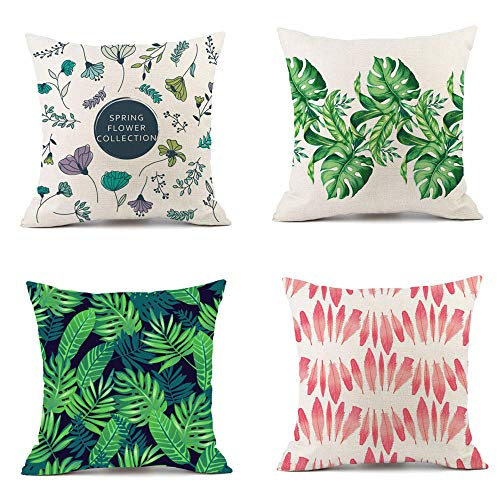 Sofa Cushion Covers Cotton Linen Pillow Covers Garden Seat Cushions Green Plants And Flowers Cushion Cover For Livingroom Sofa Bedroom Coffee Decorative 4 Pcs 45X45Cm (With Invisible Zipper)
