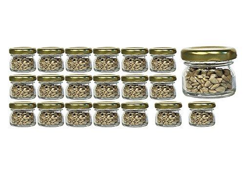 20er Set Sturzgläser Mini Gläser | Füllmenge 30 ml | Deckelfarbe Gold | To 43 Rundgläser Marmeladengläser Obstgläser Einweckgläser Honig Gläser Einmachgläser Portionsgläser Probiergläser Imker