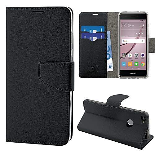 N NEWTOP Cover Compatibile per Huawei Nova, HQ Lateral Custodia Libro Flip Chiusura Magnetica Portafoglio Simil Pelle Stand (Nera)