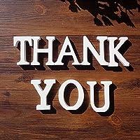 1セット「ありがとう」セット白い木製の手紙英語のアルファベットの単語立って結婚式のパーティーの家の装飾の文字と数字