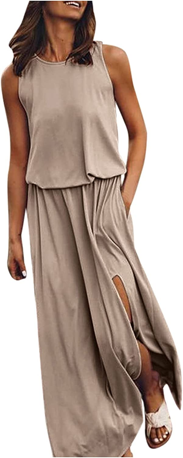 ESULOMP Women's Casual Long Dress Summer Comfortable Solid Fork Opening Dress Loose Sleeveless Maxi Dresses