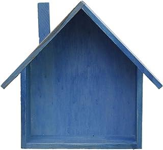 Estantería de Pared de Madera Forma de Casita Organizador de Artículos Pequeños Decoración para Hogar Oficina Escritorio - Azul