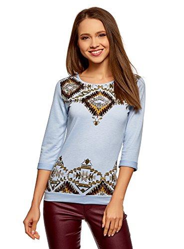oodji Ultra Mujer Suéter con Estampado Étnico, Azul, ES 36 / XS