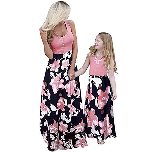 Mutter und Tochter Maxikleid Sommer Rundhals Ärmellose Kleider A Linie Strandkleid Partykleid Rosa Blume Stitching MaxiKleid (Farbe: für Mädchen, Größe: 3-4 Jahre)