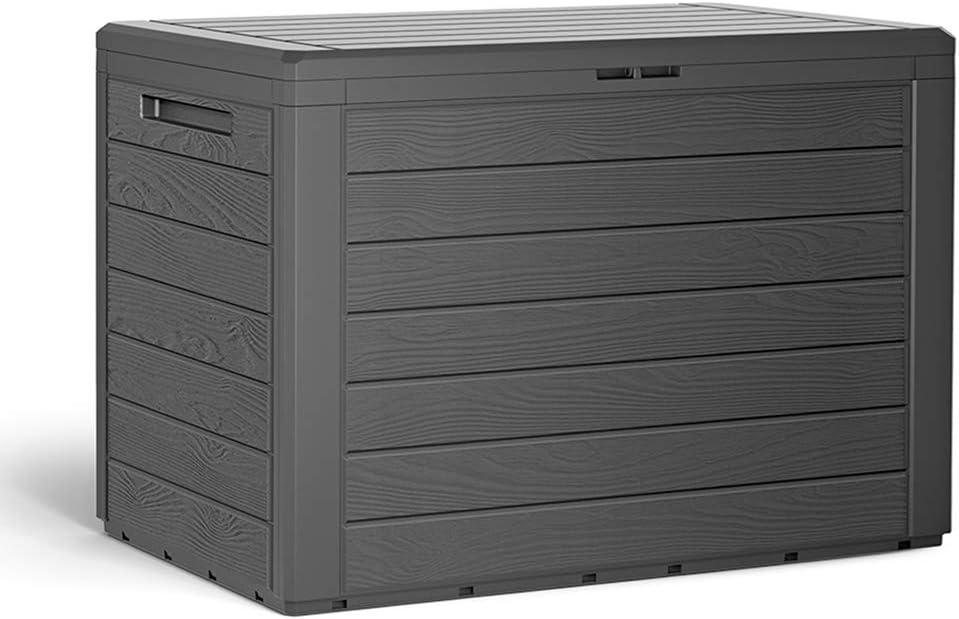 Casaria Auflagenbox 190 L Holz-Optik Wasserabweisend Deckel Abschliessbar Garten Balkonbox Gartenbox Truhe Anthrazit