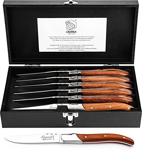 7.- Laguiole Style de Vie Luxury Line - Juego de 6 cuchillos de carne (madera de palisandro)