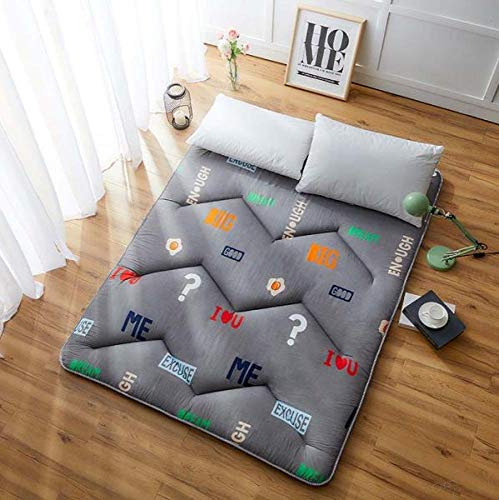 GFRYY Mattress Topper, Japanese Floor Futon Thicken Tatami Mat Sleeping Pad Foldable Roll Up Fiber Mattress Boys Girls Dormitory Mattress Pad Microfibre Mattress Topper/F/Full:120
