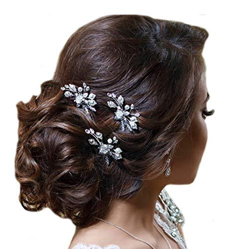 Simsly Horquillas para el pelo de novia con flores, accesorios para el pelo para mujeres y niñas (3 unidades)
