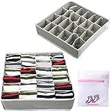 kekechaoran 2 Paquetes Textil organizadores cajón divisores, 24 Celdas Plegable Ropa Interior Cajas de Almacenamiento para almacenar Calcetines, Bufandas, Sujetador