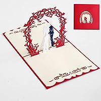 3Dグリーティングカード メッセージカード 2021 バレンタイン デー 結婚祝い おめでとう 誕生日 母の日 記念日カード 業手作り 切り絵 立体 贈り物 9つのスタイル (スタイルF, 3pcs)