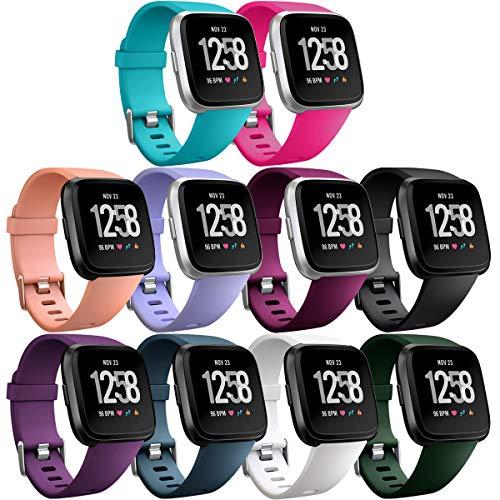 HUMENN Armband Für Fitbit Versa/Fitbit Versa 2, Classic Weiches TPU Sports Ersetzerband Verstellbares Zubehör Uhrenarmband für Fitbit Versa/Versa 2/Versa Lite Edition Smartwatch Groß 10pack