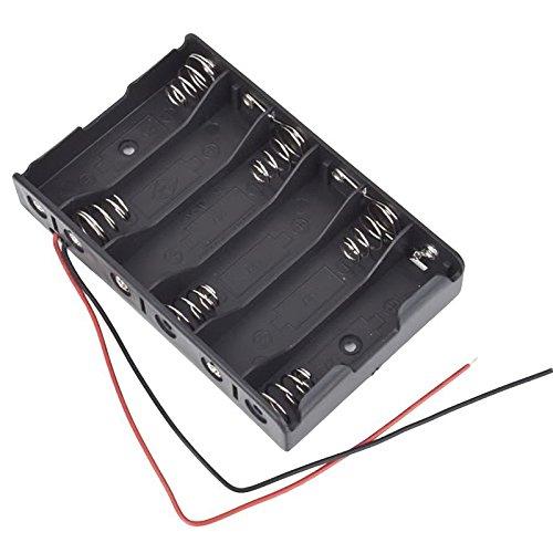 Tenflyer Support de Batteries AA 6x1.5V Bloc Coupleur Boîte de Rangement Batterie Pile Avec Câble 9V Plastique Noir