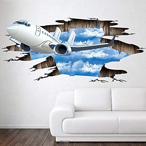 Azul Cielo 3D Avión Pared Rota Pegatina Sala De Estar Baño Decoración Calcomanías Decoración Del Hogar Avión Suelo Roto 110X50Cm