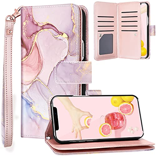 Fingic Compatible with iPhone 13 Pro Max 5G Case Wallet, Rose Gold Marble 9 Card Holder PU Leather Detachable Wrist Strap Wallet Case for Women Cover for Apple iPhone 13 Pro Max (6.7 inch), Rose Gold