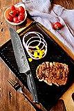 Wakoli FKB Damastmesser Santokumesser - sehr hochwertiges sehr scharfes Profi Santoku Messer mit Damast Klinge 18,50 cm und G10 Griff, Küchenmesser, Kochmesser - 7