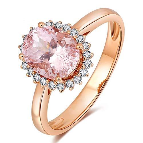 necklace Ladies fashion 9CT solid rose gold diamond engagement wedding ring, ring size: I Hoisting (Size : 57 * 18.1mm)