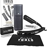✮ BARBER TOOLS ✮ Navaja de afeitar + Box 5 cuchillas de doble hoja + Paño de pulir + Almacenamiento Pu