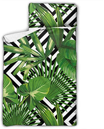 Summer Exotic Jungle Plant Tropical Palm Leaves Kids Toddler Nap Mat with Pillow - Includes Pillow & Fleece Blanket for Boys and Girls Napping at Daycare, Preschool, Or Kindergarten
