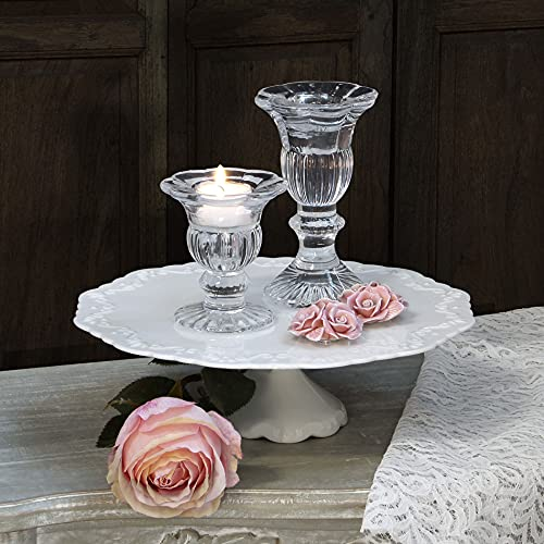 EDG ENZO DE GASPERI Candeliere Porta Candela Vintage Vetro Trasparente Vintage Shabby Chic Altezza 15 cm