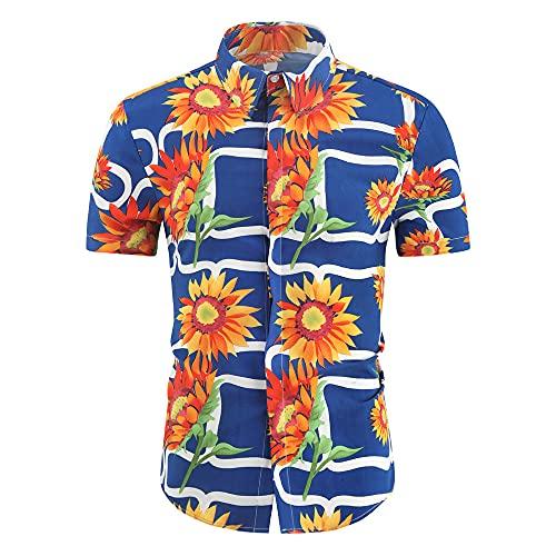 Hawaii Camisa Hombre Verano Cuello V Slim Fit Hombre Cuello Kent Camisa Moda Estampado Manga Corta Shirt Cuello Alto Playa Camisa Transpirable Secado Rápido Deportiva Camisa C-03 3XL
