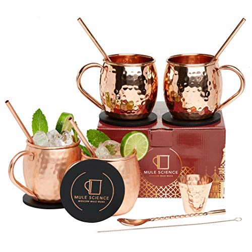 [GIFT SET] Mule Science Moscow Mule Copper Mugs - Set of 4 - Pure Solid Copper Mugs 16 oz with BONUS: Copper Cups with Cocktail Copper Straws, Stirring Spoon, Cleaning brush, Coasters and Shot Glass!