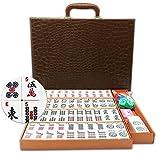Mose Cafolo ~ American Mahjong Set - 166 White Engraved Standard Size 1.2' Tiles For Western Mah Jong, Mahjongg, Mah-Jongg Set with Carrying Travel Case - No Racks and Pushers!
